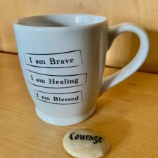 I am Brave, I am Healing, I am blessed Mantra Mug and Courage Talistone