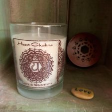 Heart chakra soy candle and Love Talistone