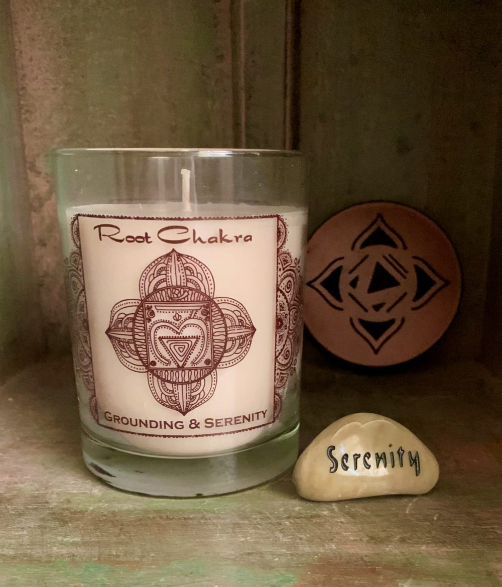 Root Chakra Soy Candle with Serenity Talistone