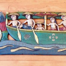 Wood panel handcarved and painted
