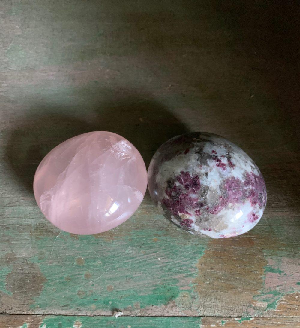 Rose Quarz and Rubelite palm stones
