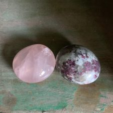 Rose Quarz and Rubelite palm stones