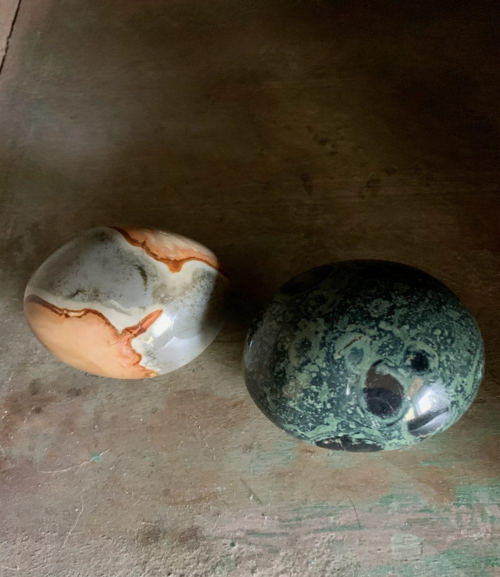 Polychrome Jasper and Kambaba Jasper Crystal Palm Stones