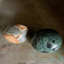 Polychrome Jasper and Kambaba Jasper Crystal Palm Stones