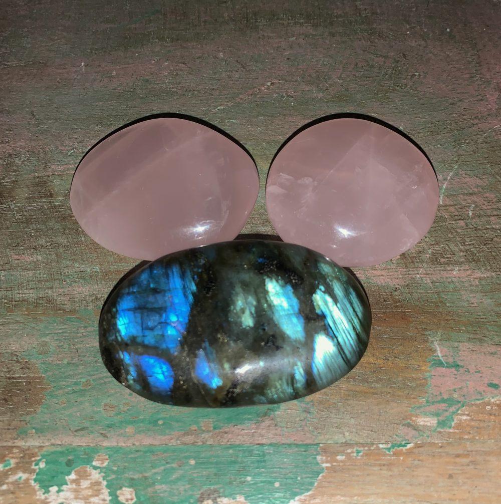 Rose Quartz and Labradorite Palm stone crystal