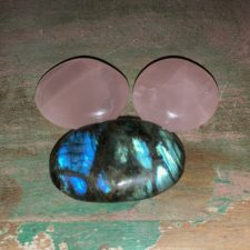 Rose Quartz and Labradorite Palm stone crystal