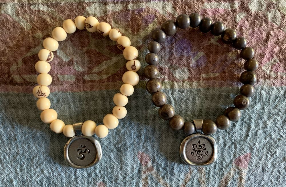 Om and Breathe beaded bracelet set