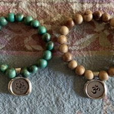 Breathe and OM beaded bracelet set