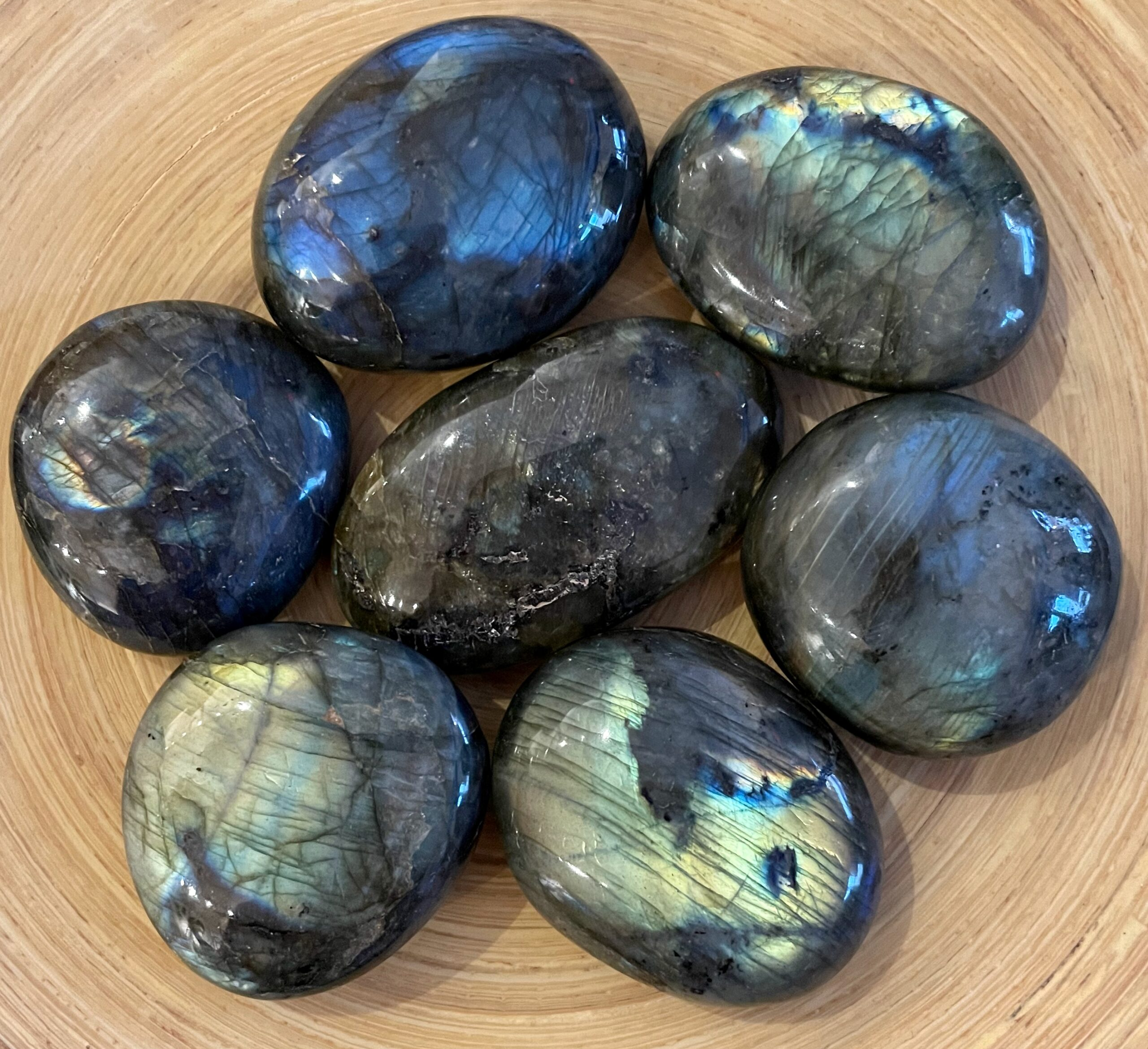 Labrodorite Crystal Palm Stone Set
