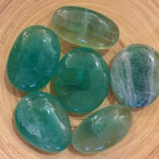 Green Fluorite Crystal Palm Stone Set