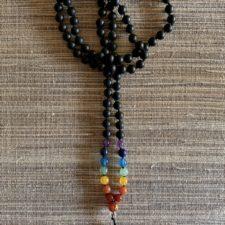 Shungite 108 bead mala w/ 7 chakra stones