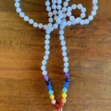 White Jade & 7 Chakra Crystal 108 Bead Mala