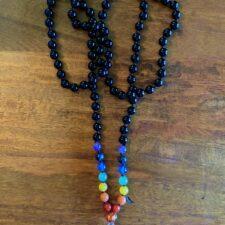 Black Onyx & 7 Chakra Crystal 108 Bead Mala