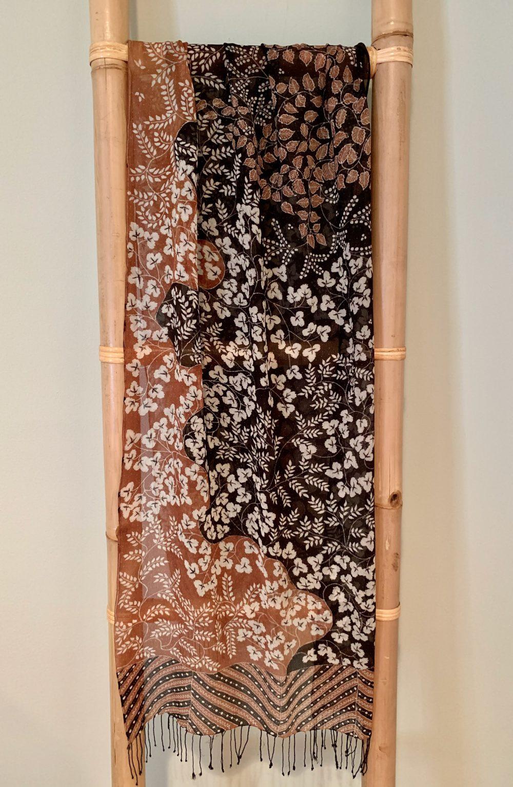 One of kind silk chiffon batik scarf