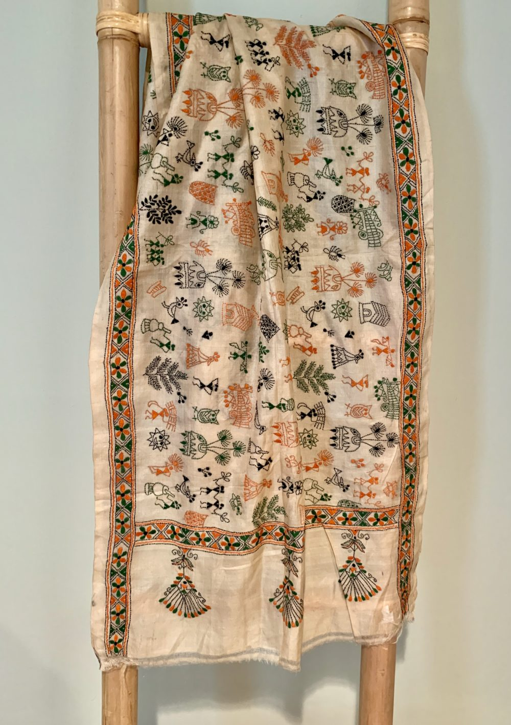 Vintage Silk Embroidered Bengali Scarf