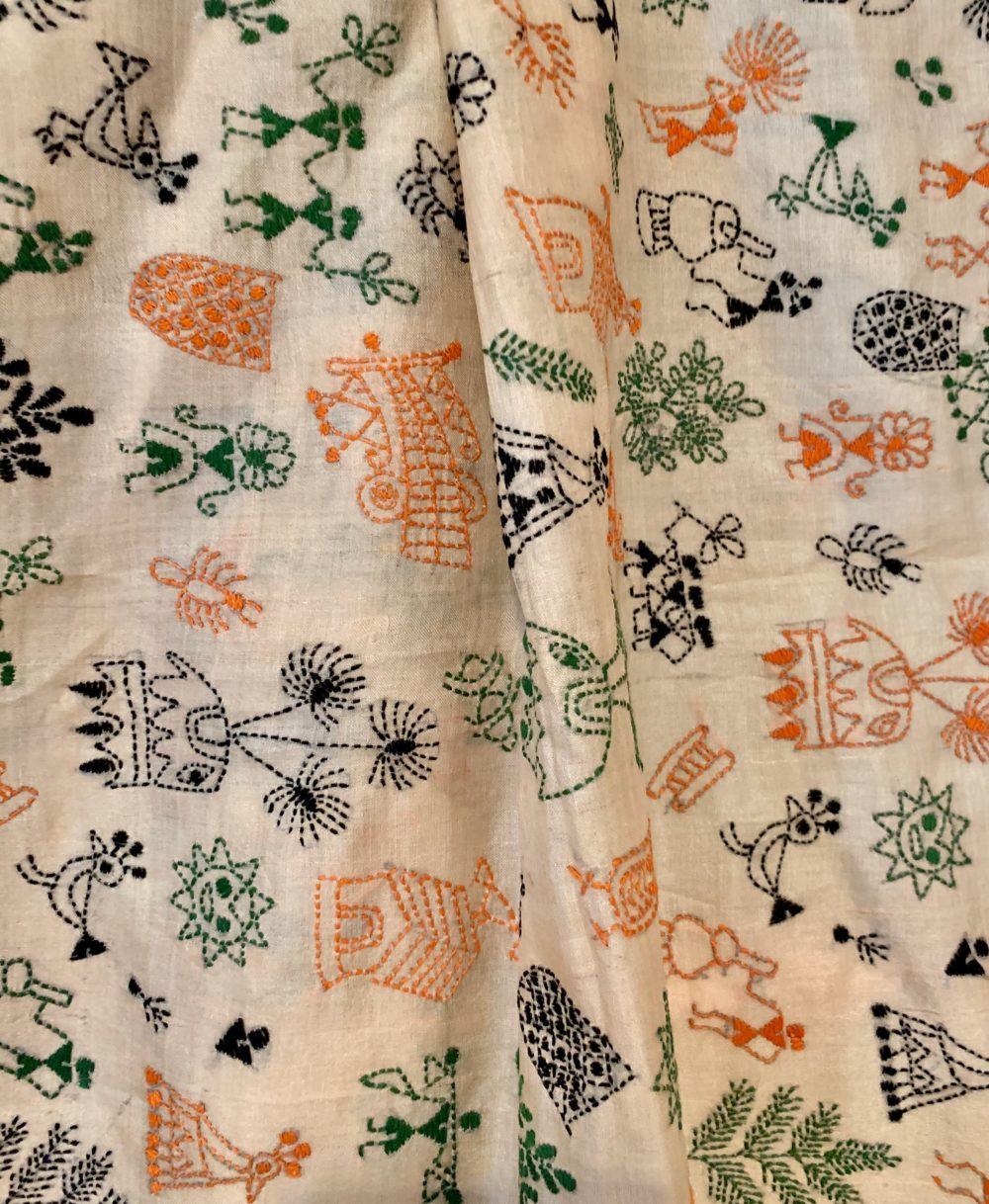 detail of vintage silk bengali scarf