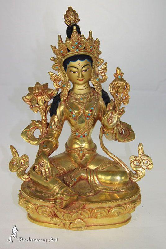 Gold Green Tara Statue
