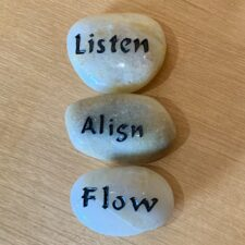 Listen, Align, Flow Haiku Mantra Stone Set gift package