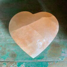 Large Orange Selenite Crystal Heart