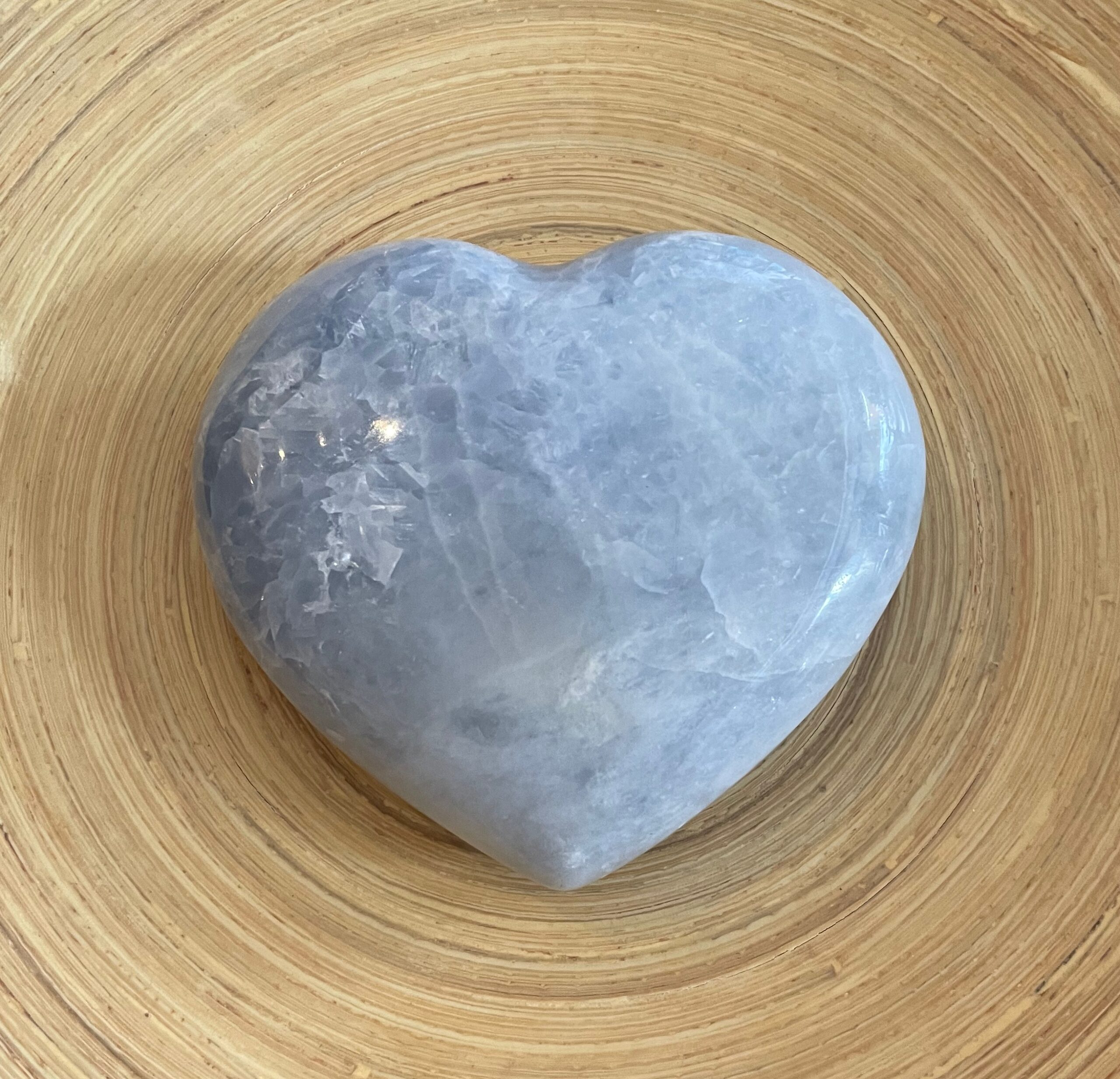 Large Blue Calcite Crystal Heart