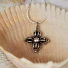 Silver Double dorge necklace
