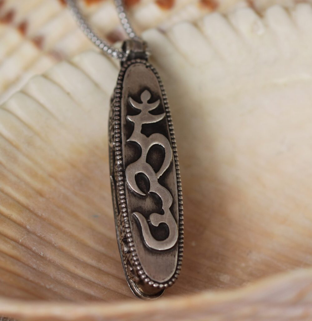 Silver Om Mane Padme Hung Prayer Box Necklace