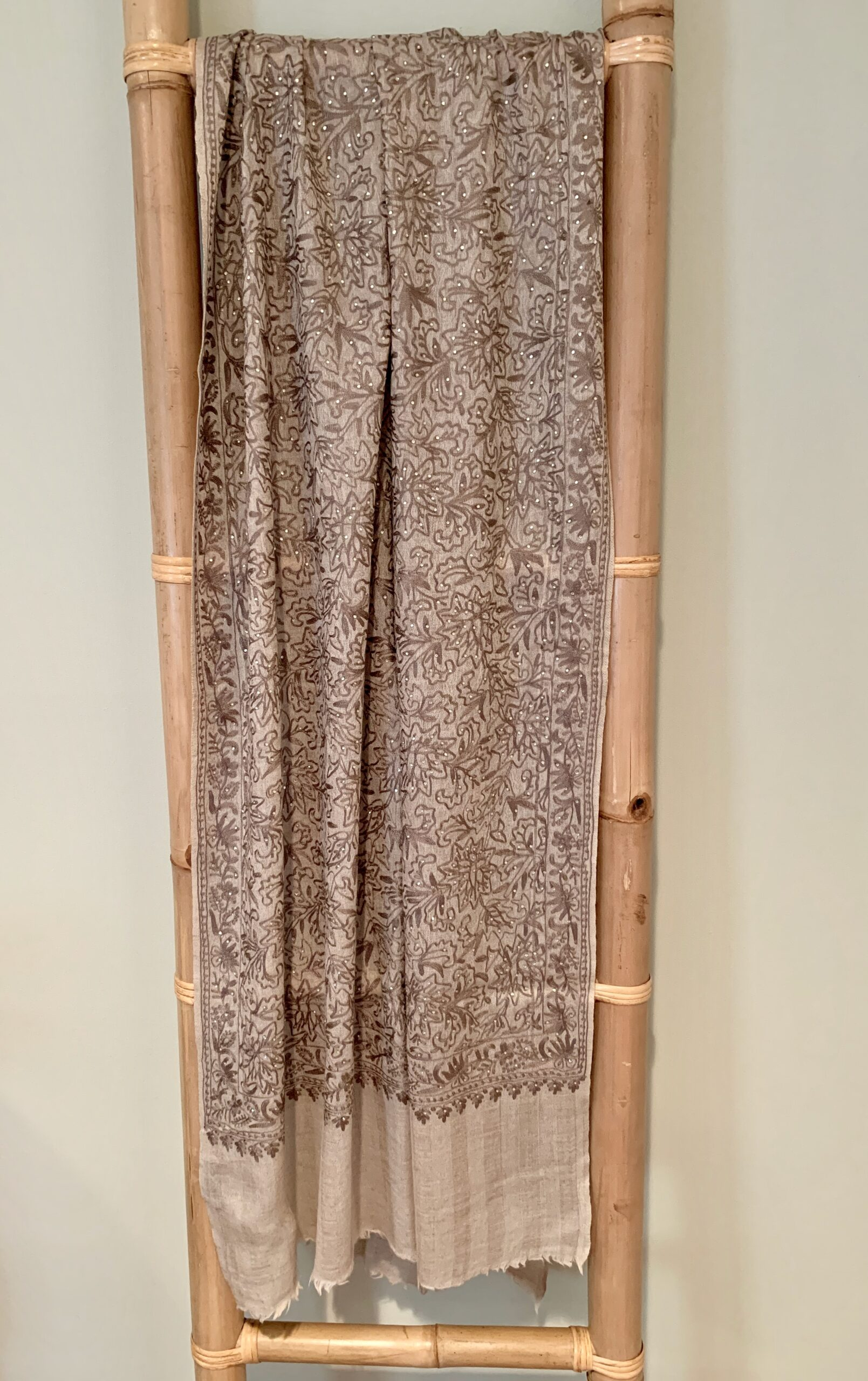Cashmere Stole w/ Embroidery and Swarovski Crystals