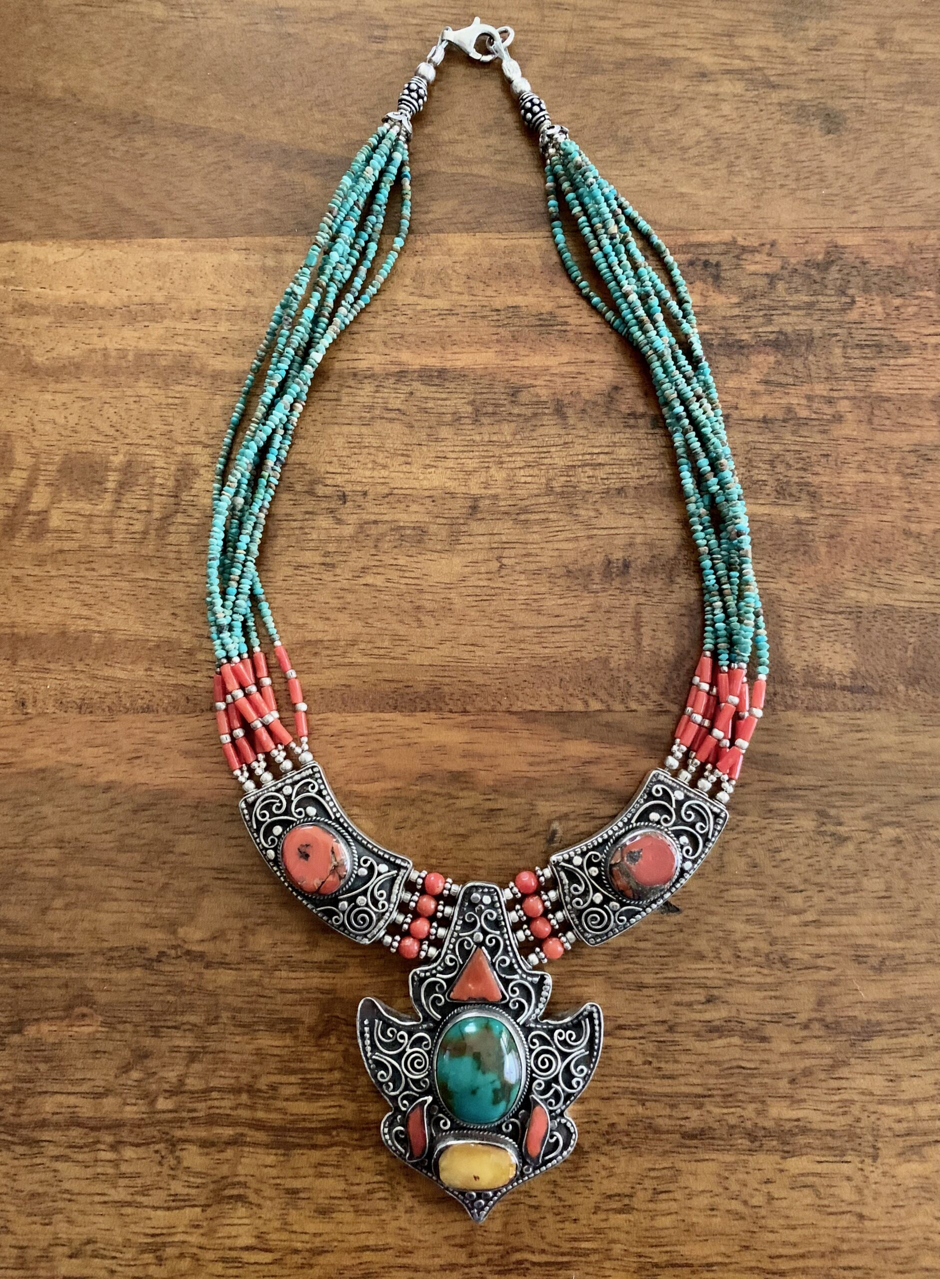 Turquoise, Silver & Coral Beaded Necklace