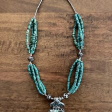 Turquoise & Silver Beaded Necklace