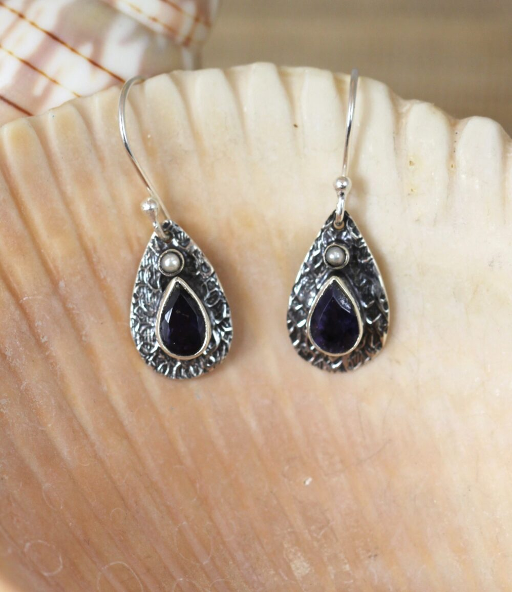 Sterling silver tear drop earrings with Iolite