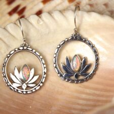 Sterling silver lotus earrings w/ Opal