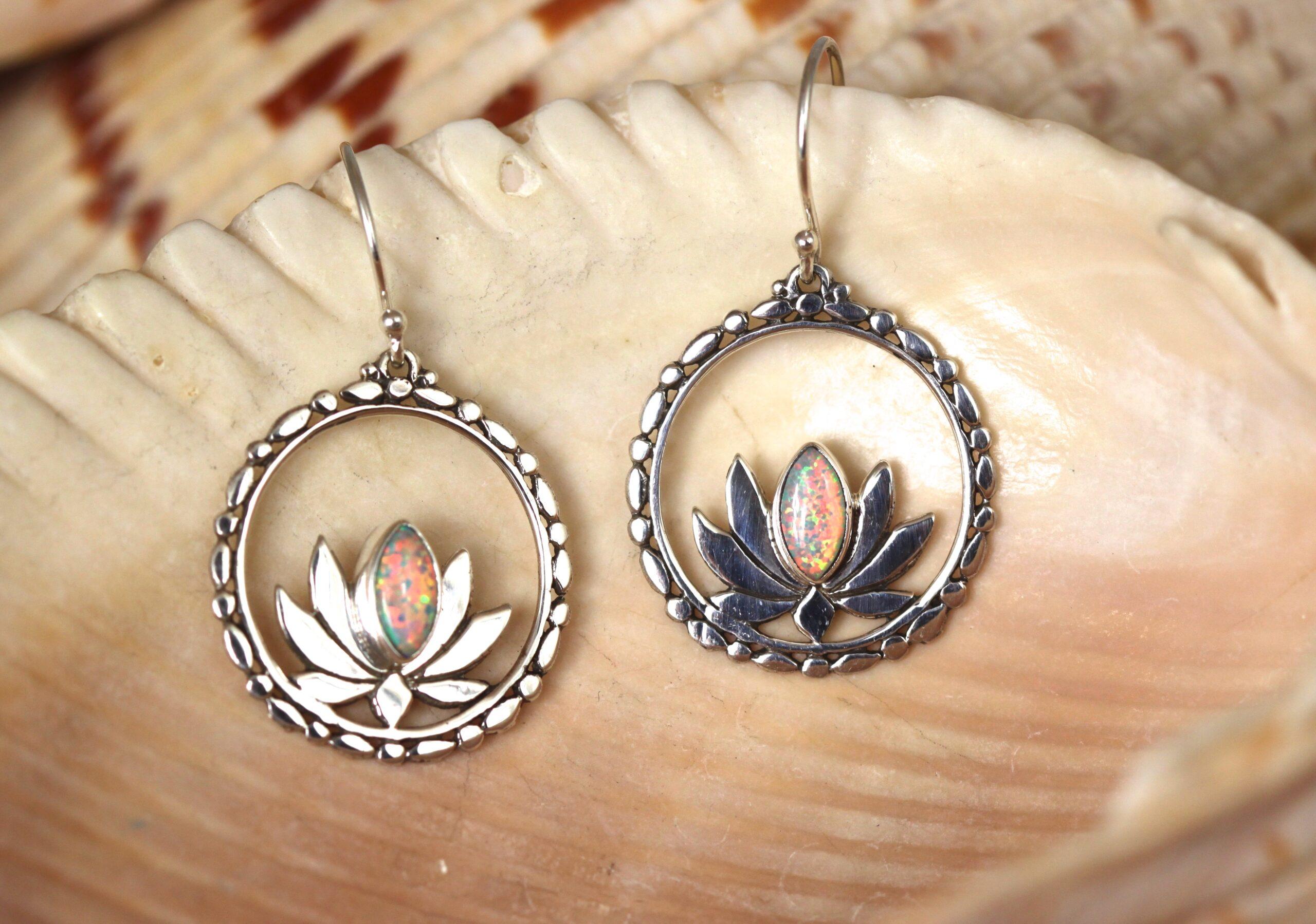 Sterling silver lotus earrings w/ Opal