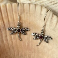 Silver with Garnet Dragonfly Earrings
