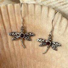 Silver with Garnet Dragonfly Earrings