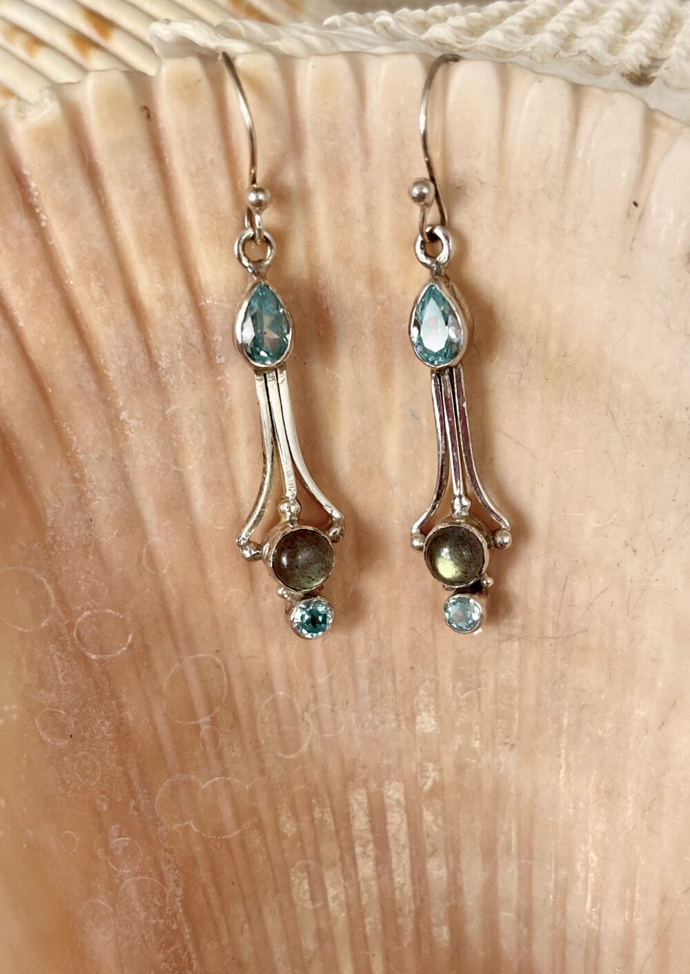 Silver Earrings with Blue Topaz and Labradorite