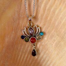 Silver Lotus Chakra Necklace