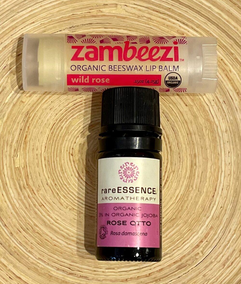Organic Rose Otto Essential Oil w/ Organic Wild Rose Lip Balm