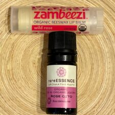 Organic Rose Otto Essential Oil w/ Organic Wild Rose Lip Balm